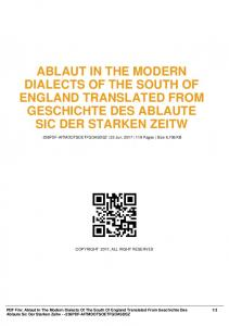 ablaut in the modern dialects of the south of england ...  AWS