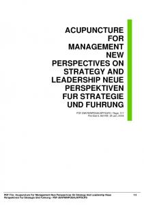 acupuncture for management new perspectives on strategy and
