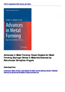 Advances in Metal Forming: Expert System for Metal Forming ...