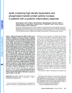 ApoE-containing high density lipoproteins and ... - CiteSeerX