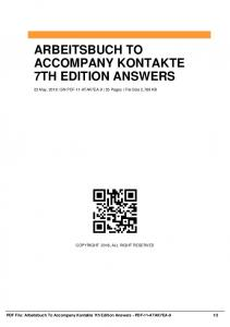 arbeitsbuch to accompany kontakte 7th edition