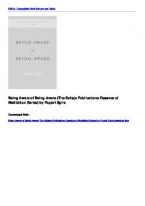 Being Aware of Being Aware (The Sahaja Publications Essence ...