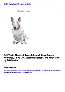 Bull Terrier Notebook Record Journal, Diary, Special Memories, To Do ...