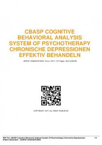 cbasp cognitive behavioral analysis system of psychotherapy