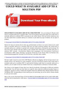 could what is available add up to a solution pdf