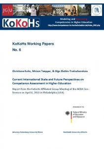 Current International State and Future Perspectives on ... - KoKoHs