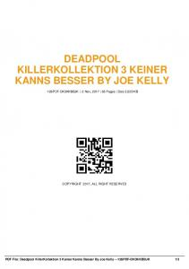 deadpool killerkollektion 3 keiner kanns besser by joe kelly