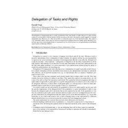 Delegation of Tasks and Rights - CiteSeerX