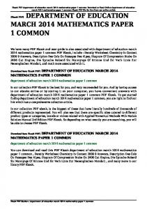 department of education march 2014 mathematics paper 1 common