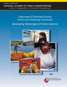 Department of Homeland Security Science and Technology Directorate