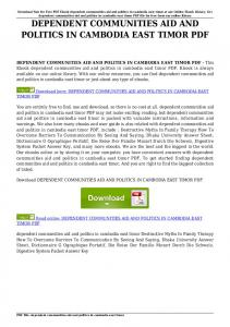 dependent communities aid and politics in cambodia east timor pdf