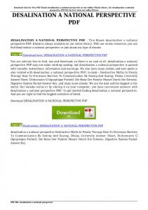 desalination a national perspective pdf