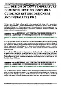 design of low temperature domestic heating systems a guide for
