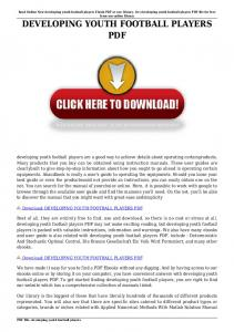 developing youth football players pdf