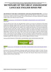 dictionary of the great andamanese language english