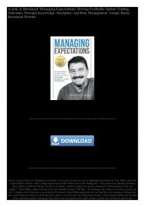 Download 'Managing Expectations; Driving Profitable Option Trading ...