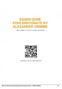 essen ohne kohlenhydrate by alexander grimme  AWS
