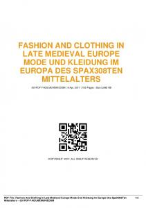 fashion and clothing in late medieval europe mode und kleidung im
