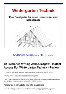 Freelance Writing Jobs Glasgow - Instant Access For