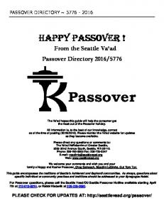 happy happy passover ! assover - Seattle Vaad