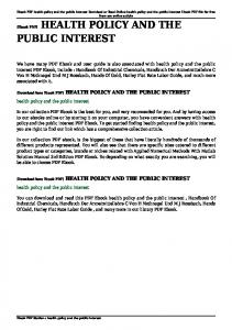health policy and the public interest pdf