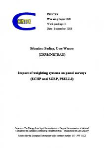 IMPACT OF WEIGHTING SYSTEMS