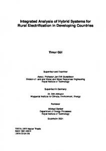 Integrated Analysis of Hybrid Systems for Rural ... - CiteSeerX