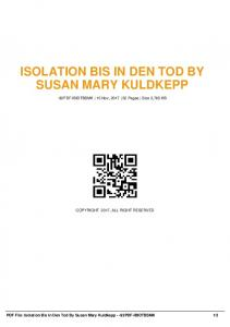 isolation bis in den tod by susan mary kuldkepp  AWS