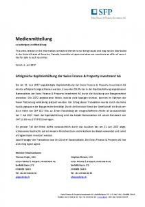 Kapitalerhöhung der Swiss Finance & Property Investment AG