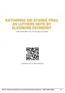 katharina die starke frau an luthers seite by eleonore ...  AWS