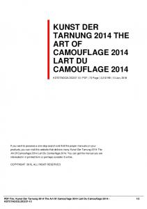 kunst der tarnung 2014 the art of camouflage 2014 ...  AWS