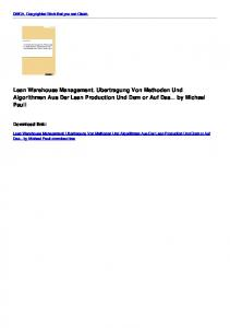 Lean Warehouse Management. Ubertragung Von Methoden ...