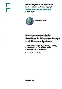 Management of Solid Residues in Waste-to-Energy and Biomass ...