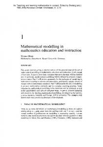 Mathematical modelling in mathematics education and ... - CiteSeerX