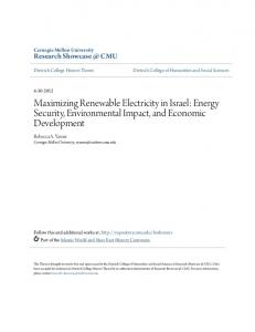 Maximizing Renewable Electricity in Israel - Research Showcase