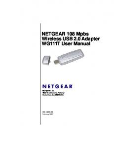 NETGEAR 108 Mpbs Wireless USB 2.0 Adapter WG111T User Manual