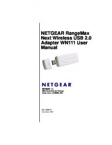 NETGEAR RangeMax Next Wireless USB 2.0 Adapter WN111 User
