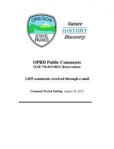 OPRD Public Comments - Oregon.gov