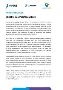 PRESS RELEASE CEGH to join PEGAS platform