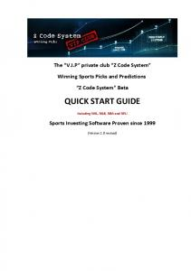 quick start guide - ZCode™ System