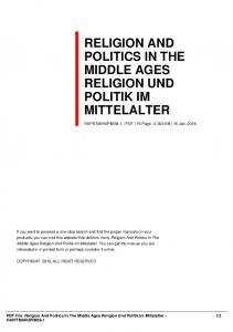 religion and politics in the middle ages religion und ...  AWS