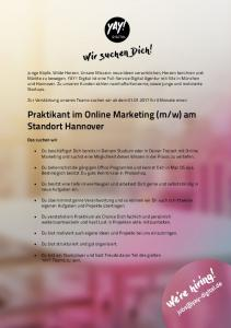 Stellenausschreibung_Praktikant im Online Marketing - YAY! Digital