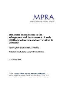 Structural impediments to the enlargement and improvement of early ...