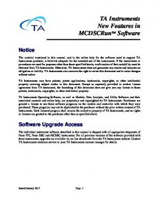 TA Instruments New Features in MCDSCRunTM Software