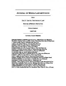 the aims of public scholarship in media law and ethics - University of ...