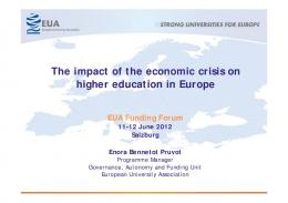 The impact of the economic crisis on higher education in Europe