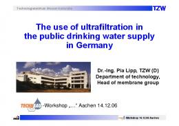 The use of ultrafiltration in the public drinking water supply ... - Techneau