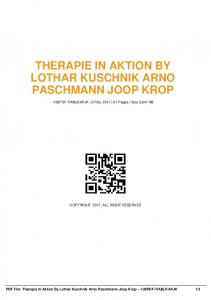 therapie in aktion by lothar kuschnik arno ...  AWS