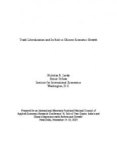 Trade Liberalization and Its Role in Chinese Economic Growth - IMF