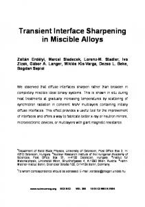 Transient Interface Sharpening in Miscible Alloys